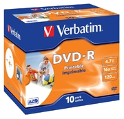 DVD-R 4,7 Go 16x jet d'encre, jewel 10