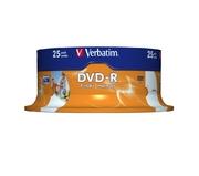 DVD-R 4,7 Go 16x jet d'encre, spin. 25