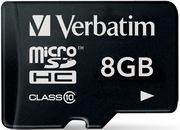 Carte microSDHC 8Go Verbatim Prem. cat10