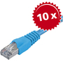10xcâble patch cat5e SF/UTP RJ45 2m,bleu - Thumbnail